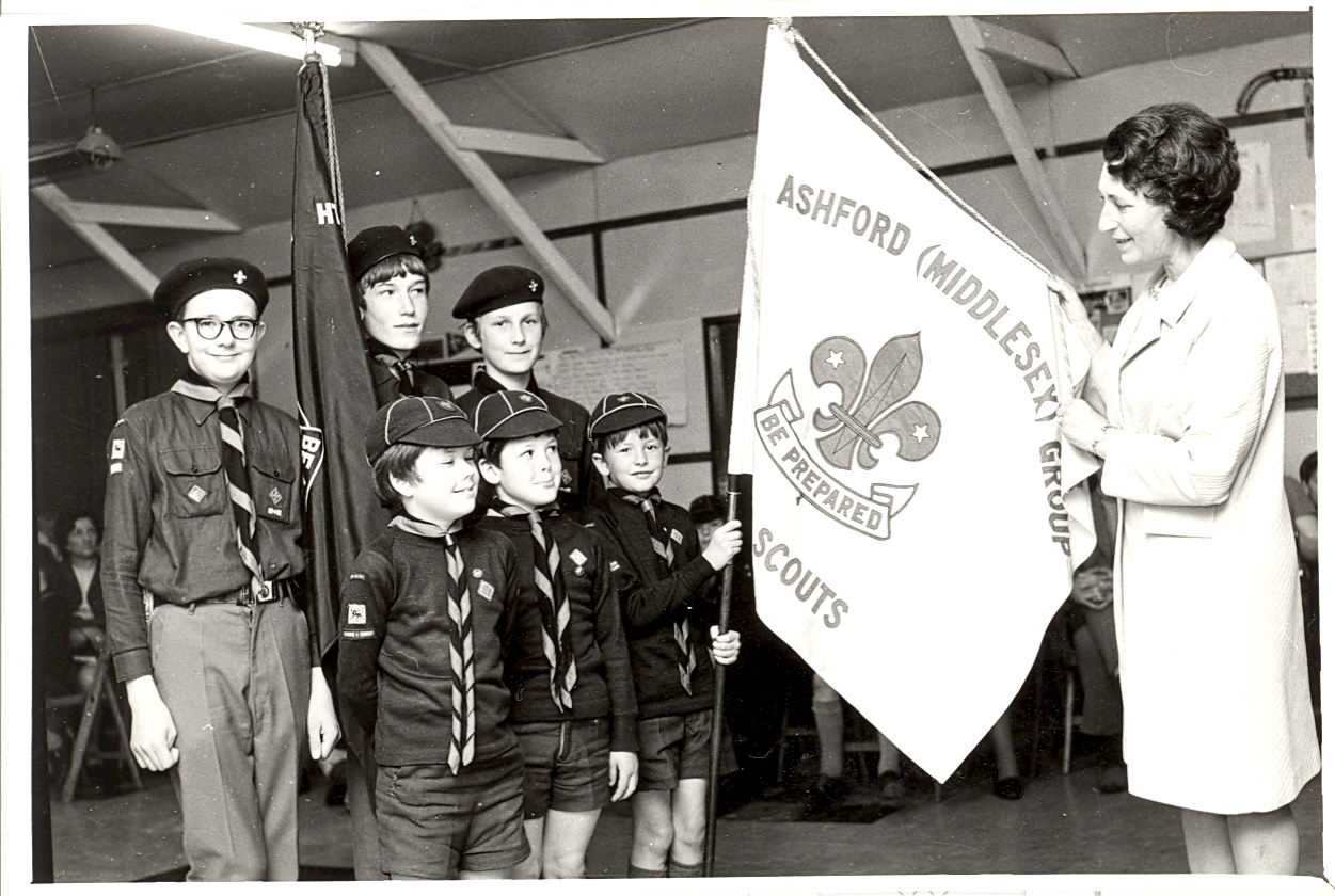 Pam with 8th Ashford's Scout Colours.
